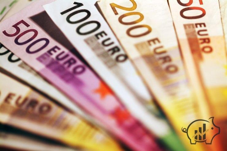 Background of euro bills. Shallow focus.