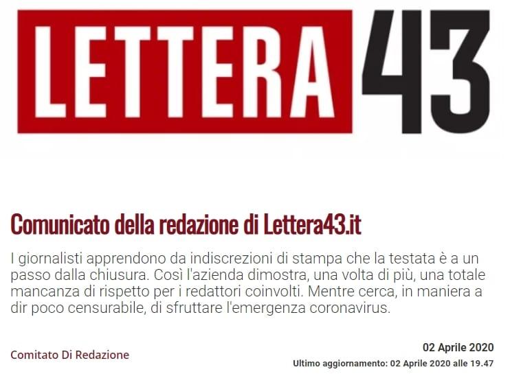 Dal 15 maggio verrà chiuso il progetto editoriale Lettera43